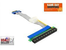 PCI-E 1X to 16X Riser Card Flexible Ribbon Extender Cable 19 CM Cord w/ Molex!