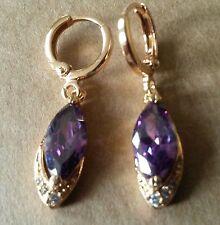 F11 Purple marquise amethyst & diamantes Huggie hoop+drop gold gf earrings BOXED