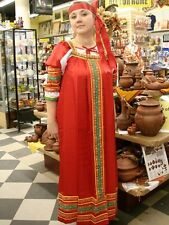 Russian Folk Traditional Sundress & Blouse, Red, Dress (48-50 size)