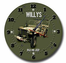 WILLYS MB JEEP 10 INCH DIAMETER METAL WALL CLOCK.VINTAGE AMERICAN MILITARY JEEP.
