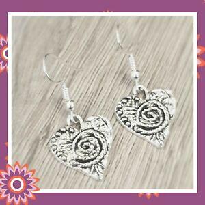 Silver Heart Earrings Textured Spiral Tibetan Hearts Love Romantic Gift