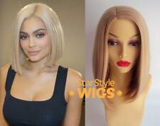 DELUXE KYLIE JENNER STRAIGHT BLONDE BOB HEAT RESISTANT FASHION WIG