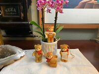 Vintage Lucy & Me Bear Enesco 1982 Set of 4 RED BOW PolkaDot CHRISTMAS Bears