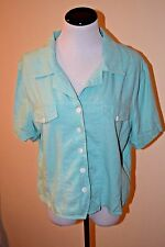 Coldwater Creek Shirt Top Blouse Turquoise  Linen/Rayon Blend Women's XL