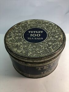 VINTAGE TETLEY 100 TEA BAG TIN Box Round EMPTY CANISTER Container Antique