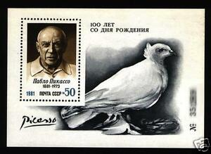 Russia USSR RUSLAND 1981 Pablo Picasso paintings BIRD  S/S MNH  mich 152