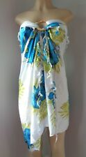 "Sarong Swimsuit coverup White w/teal Hawaiian Hibiscus Print  63"" x 43"" Fringe"