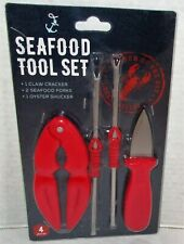 SEAFOOD 4 Pc. TOOL SET Claw Cracker/2 Forks/1 Oyster Shucker