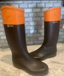 AIGLE Brown and Orange Hunt Top Rubber Rain Riding Boots 7.5 /38 Made In France