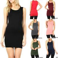 Womens Extra Long Tank Top Seamless Basic Tunic Stretch Bodycon Mini Dress Slip