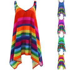 Women Plus Size Stripe Pullover Sleeveless Irregular Vest Tank Shirt Tops Blouse
