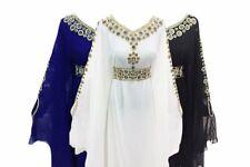 Moroccan Dubai Kaftans Farasha Abaya White Blue Black Maxi Islamic Dresses ByMZW