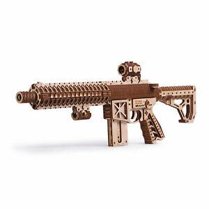 Wood Trick 3D Wooden AR-T Assault Rifle Gun 496 Piece Model Puzzle with Clip