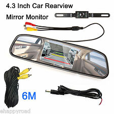 "4.3"" TFT LCD Monitor Mirror Screen Car Back Up Camera Kit Rear View System"