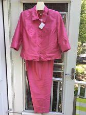 NWT TALBOTS Petite Women's PURE SILK SHANTUNG Fuschia Pink Pant Suit Size 16