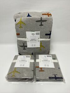 Pottery barn kids Jersey knit In Flight Sheet & ShamSet Queen AirPlane Grey Soft