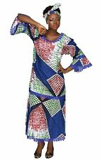Blue Lace African Apparel Wax Print Dress Maxi dakshi Inspired Gele headwrap