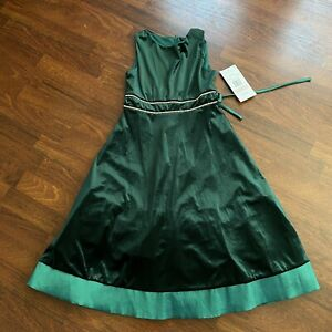 Girls Size 12 Christmas Holiday Dress Green Velvet By RARE EDITIONS