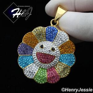 MEN WOMEN Stainless Steel Rainbow Rhinestone Happy Face Flower Pendant*GP126