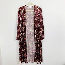 LulaRoe Velvet Long Duster Cardigan Jacket Size Large Burgundy Floral Open Front