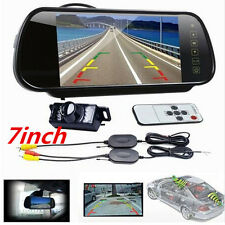 "7"" Car TFT LCD Mirror Monitor + Wireless Reverse Rear View Backup IR Camera Kit"