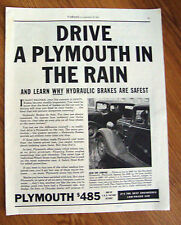 1934 Plymouth Ad  Drive a Plymouth in the Rain Learn Why Hydraulic Brakes Safest