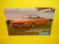 1970 FIAT 124 SPORT SPIDER CONVERTIBLE SHOWROOM BROCHURE CATALOG 70