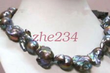 "Classic Real HUGE AAA South Sea Baroque Black Pearl Necklace 18"" 14k"
