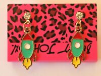 Betsey Johnson Crystal Rhinestone Enamel Rocket Ship Post Earrings