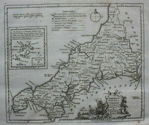 CORNWALL, original antique county map, THOMAS KITCHIN, 1769