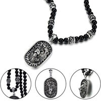 Men's Stainless Steel Lion Head Shield Pendant With Onyx Beads Chain Necklace US