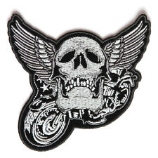 Embroidered Motorcycle Winged Skull Chrome Iron on Sew on Biker Patch Badge