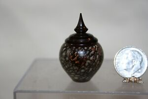 Miniature Dollhouse Brian Hart Betel Nut Turning w Gabon Ebony Lidded Jar 1:12