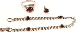 schönes Schmuckset: Armband, Ring, Anhänger mit roten Steinen - Silber 925
