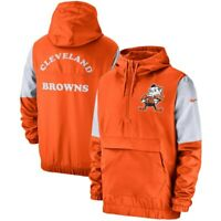 New 2019 Nike Cleveland Browns Fan Gear Historic Anorak Quarter Pullover Jacket