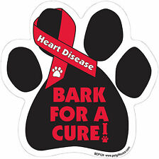 Dog Magnetic Paw Decal - Bark For A Cure - Heart Disease - Made In Usa