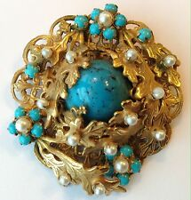 VTG ORIGINAL BY ROBERT SIGNED HASKELL ERA PEARL & TURQUOISE RHINESTONE BROOCH