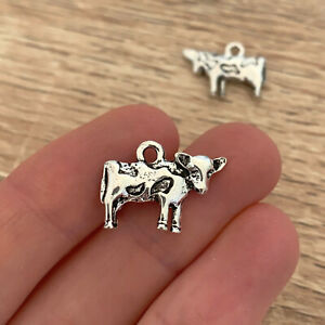 10/20/30 Pcs Antique Silver Cow Charms Animal Pendant Farm Jewelry Farmer Gift