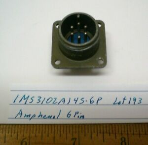 1 MS3102A14S-6P Military Connector Bulkhead, AMPHENOL, Lot 193, Made in  USA