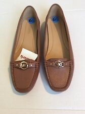 New Michael Kors Women's Brown Luggage Leather Loafers Flats Shoes Size 6/5