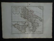 1795 VAUGONDY  Atlas map  SOUTHERN ITALY - SICILY - Royaume de Naples - Sicile
