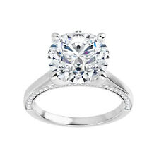 Halo Micro Pave Solitaire Engagement Ring 2.30 Ct Moissanite Round Forever One