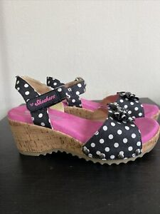 Skechers memory foam Kids Girl Shoes Sandals Clogs polka dot sz 3 black/pink