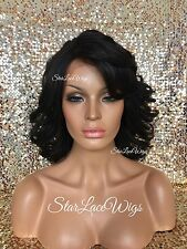Lace Front Wig Wavy Layered Bangs Off Black #1b Side Part Heat Safe Ok