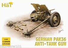 Hat 8149 ww2 GERMAN PAK 36 37mm ATG & Crew. 1/72 SCALA FIGURE DI PLASTICA NON VERNICIATA