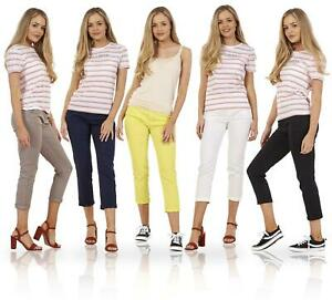 Ladies Cotton 3/4 Stretch Crop Turn Up Cropped Pants Capri Trousers