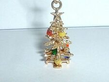 VINTAGE 14k YELLOW GOLD 3D MOVEABLE CHRISTMAS TREE PENDANT CHARM w/ ornaments
