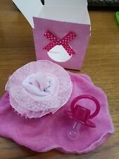 * * Baby Girl's Pink Cupcake Socks, Wash Cloth & Dummy Gift Box * *  (Small) ~