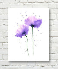 Purple Poppies Contemporary Watercolor Art 11 x 14 Print by Artist DJR