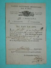 1-REVOLUTION Doc. Section du Pantheon Français 1794: Ordre de Monter la Garde